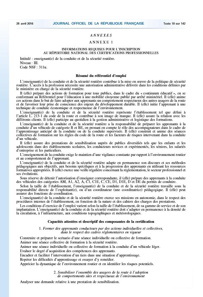 Arrête du 20 avril 2016 relatif au Titre Professionnel ECSR - Journal Officiel p.3